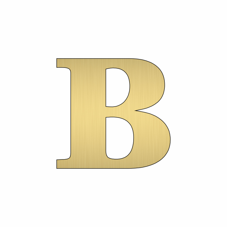 Буква B - златна