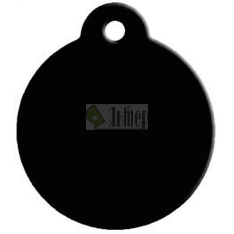 МЕДАЛЬОН ЗА КУЧЕ кръг с ухо - черно